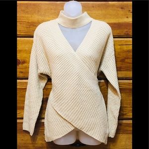 Entro knitted sweater with cross front, size S